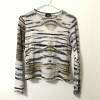 Just Cavalli Tiger Fur Graphic Print Long Sleeve Fits S Animal Print HTF