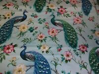 Feathered Peacock Flowers Blue David Textile Quilting Cotton Fabric 1/2 YARD