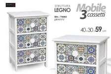 MOBILE CASSETTIERA LEGNO 3 CASSETTI 40*30*59 CM MOSAICO SHABBY CHIC IBA-736063