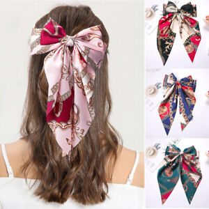 Women Satin Oversized Hair Clip Chains Print Bowknot Ribbon Hairpin Accessories