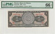 Mexico 1969 1 Peso PMG Certified Banknote UNC 66 EPQ Gem Pick 59k ABNC