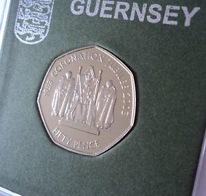 2003 Guernsey Queen Elizabeth II Coronation Golden Jubilee 50p Coin BU UNC Cased