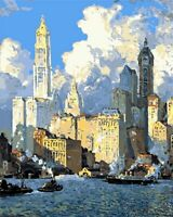 City Boats Sea Sky Cloud View Paint By Number Kit DIY Number Canvas Painting Oil