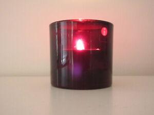 BNIB iittala Marimekko KIVI CRANBERRY RED HandBlown Glass Finlnd Candle Holder