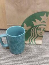 STARBUCKS COFFEE TEAL BLUE TIGER PRINT 12 oz CERAMIC MUG FALL 2018 LIMITED NEW