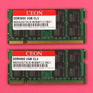 4GB (2x 2GB) DDR2 PC2 6400 800Mhz CL5 Ceon 200 Pin SoDimm RAM Laptop NoteBook