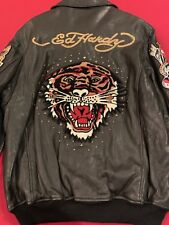 Men's Ed Hardy by Christian Audigier Black Avirex Leather Jacket Size XL