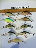 Lot of 9 Rebel Deep Wee R Crankbaits NICE COLORS TACKLE BOX FIND FISHING LURES.