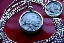 """Antique 1936 Buffalo Indian Head Nickel on a 28"""" 925 Sterling Silver Chain"""