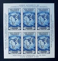 US Stamps, Scott #735 Byrd Antarctic Expedition souvenir sheet 1934 XF/Superb