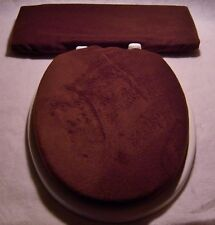 Solid Chocolate Brown fleece Elongated Toilet Seat Lid and Tank Lid Cover Set