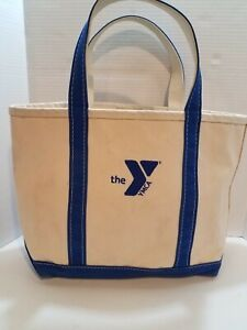 """Vintage LL Bean Boat & Tote Bag Large 18""""x11"""" - White with Blue Trim Made in USA"""