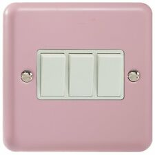 Varilight Rose Pink Lily Range - 3 Gang 10A 1 or 2 Way Rocker Light Switch