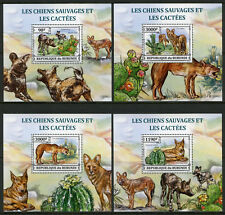 Burundi 2013 MNH Wild Dogs & Cactus Cacti 4x 1v Deluxe S/S Plants Animals Stamps