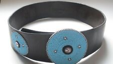 Brown  wide leather hip belt with turquoise beeds boho festival ibiza 10 12 14