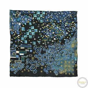 Brioni Blue Multi Color 100% Silk Geometric Streaked Hand Rolled Pocket Square