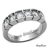1.50 CT ROUND CUT CZ SILVER STAINLESS STEEL WEDDING BAND RING WOMEN'S SIZE 5-10