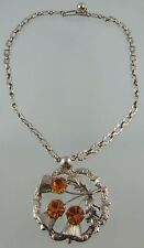 THISTLE DESIGN AMBER GLASS & STERLING PENDANT AND CHAIN COMBINATION BY W.Bs