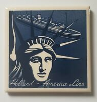 Holland American Line Statue Of Liberty Delft Style Tiles Coasters Cork Back