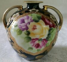 ANTIQUE NIPPON GOLD MORIAGE HAND PAINTED ROSES MINI VASE DOUBLE HANDLED UNUSUAL