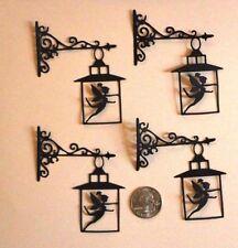 4 Handmade Black Silhouette Fairy Lantern  Die Cut Embellishments DIY