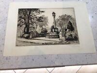 Alderley War Memorial Cheshire C1922 Leonard Brewer Signed Etching Listed Artist