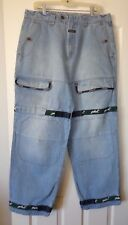 MARITHE FRANCOIS GIRBAUD GREEN SHUTTLE TAPE BAGGY CARGO JEANS 36M SHOW NO WEAR!!
