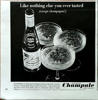 Sparkling Champale Like Nothing Else You Ever Tasted (Except Champagne) Ad 1965