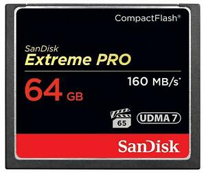 64GB SanDisk Extreme Pro 160MB/sec x1100 Speed Compact Flash CF Card - 64 GB