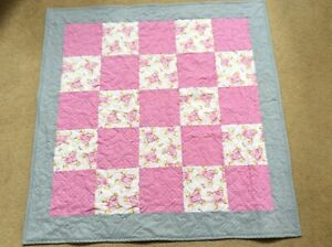 Baby Quilt Handmade Pink Elephants Crib Blanket Cotton & Soft Flannel ReversNew