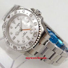 40mm BLIGER white dial GMT ceramic Bezel date sapphire automatic mens watch