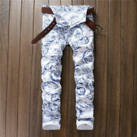 Hot Men's Fashion City White Printing Jeans Blue Pattern Trousers Popular Pants