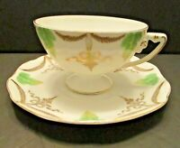 Antique Crysantheme Rosenthal and Co RC Bavaria Germany Tea Cup Saucer Leaves
