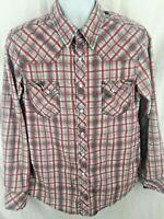 Rock & Roll Cowboy Men's Pearl Snap Western Shirt Size Large Plaid Long Sleeve