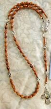 """ST PADRE PIO ROSARY CNTR & DIVIDER BEADS, OLIVE WOOD BETHLEHEM """"Hand-Made"""" NEW"""