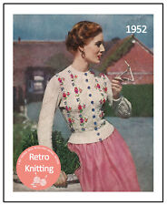 1950s Tyrolean Embroiderd Cardigan Vintage Knitting Pattern  - Copy