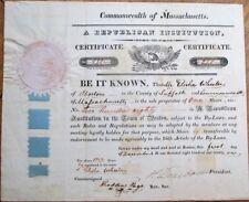 Henry Dearborn Autograph 1821 Republican Stock Certificate w/Silk Ribbon - Ma