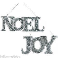 2 Christmas Party NOEL JOY Silver Glitter Sparkle Hanging Tree Trim Decorations