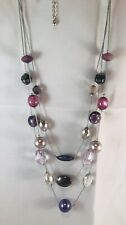 "Vintage / Retro 3 Stand Purple Plum Silver Bead Necklace 11""-13"" long"