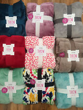 PRIMARK COSY FLEECE BLANKETS - SUPER SOFT THROWS LOVELY COLOURS !!