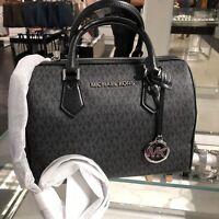 Michael Kors Medium Large Leather Crossbody Satchel Handbag Bag Purse Black MK