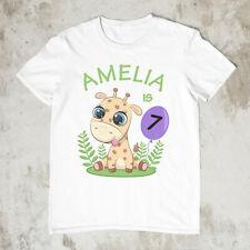 Personalised Birthday Giraffe Age Tshirt. 100% Cotton FREE DELIVERY