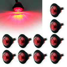 "10X Mini 12V Red 3/4"" Round Side LED Marker Car Trailer Bullet Clearance Lamp"