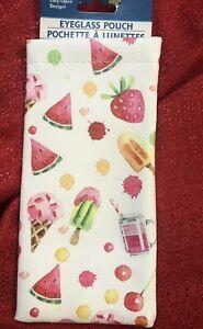 Fruit SOFT SIDE Pouch Eyeglasses Sunglass Eye Glass Summer Watermelon Ice Cream