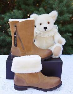 SOREL Emelie Fold-Over Camel Brown / Smooth Leather+Suede / Waterproof Boots 9.5