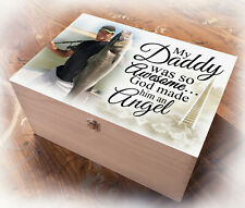 Large wooden memory keepsake box, Loving memory Dad Daddy berevement gift