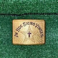Vintage Knights Templar Masonic In Hoc Signo Vinces Gold Belt Buckle Freemason