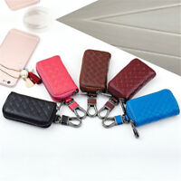 Men's Women's Cow Leather Casual Car Key Chain Ring Case Holder Bag Wallet Purse