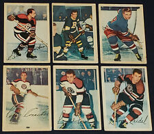1953/54 - PARKHURST - PRINTED IN CANADA - NHL HOCKEY TRADING CARDS (6) -ORIGINAL