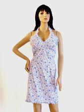 NEW DESIGNER MIKEN LIGHT BLUE & WHITE FLOWER PRINT RUFFLE DETAIL HALTER DRESS XL